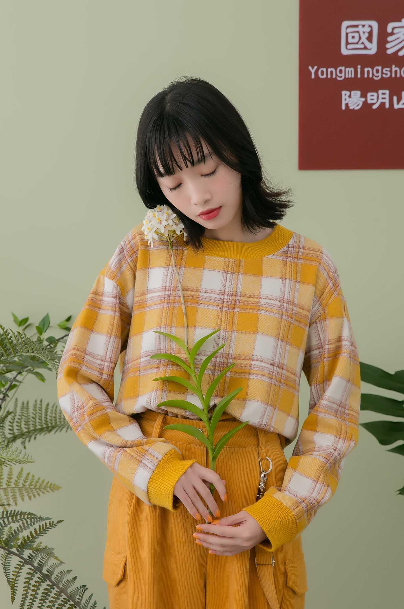 保暖的格紋圓領毛衣