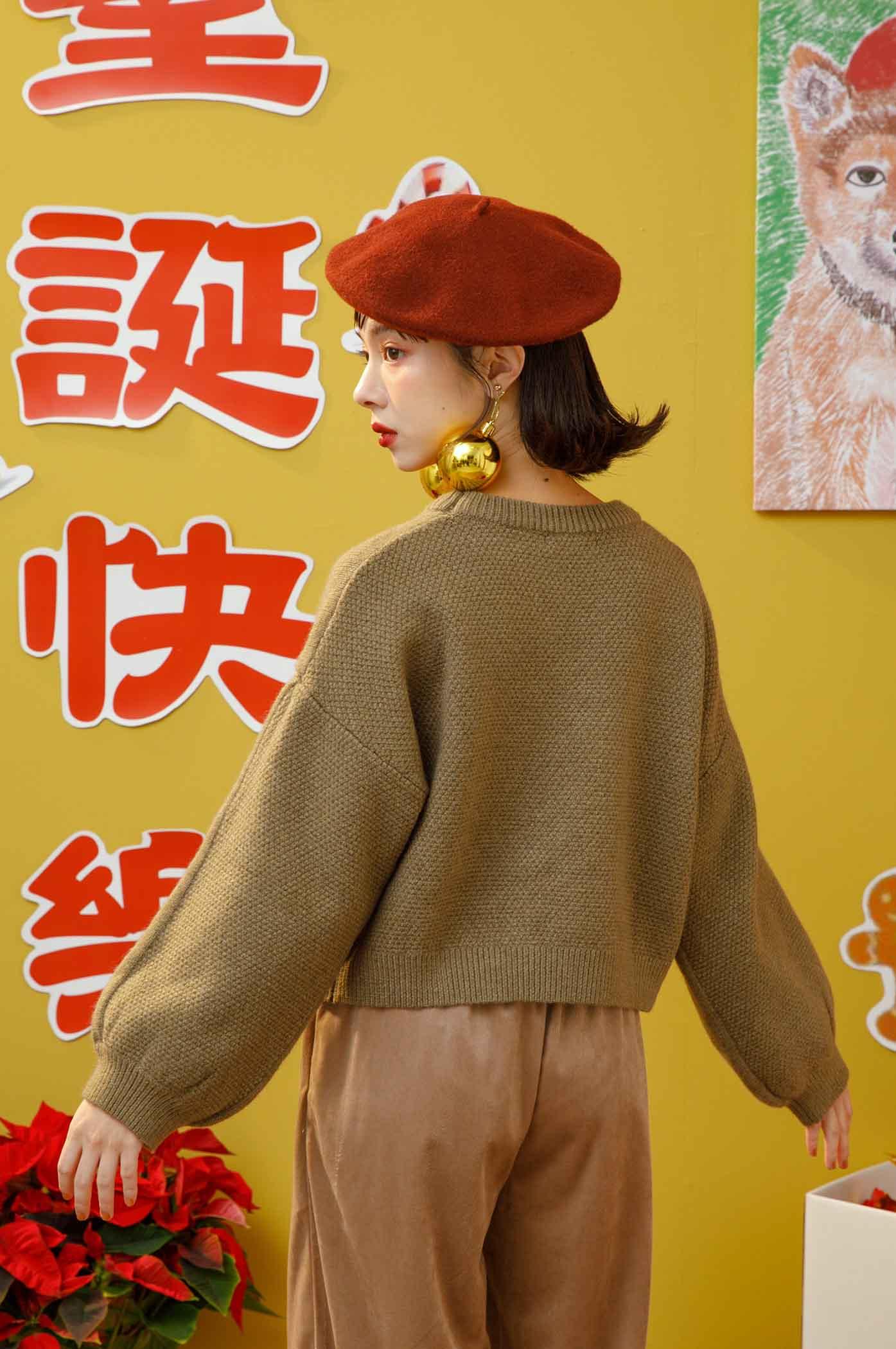 前後異織紋拼接毛衣