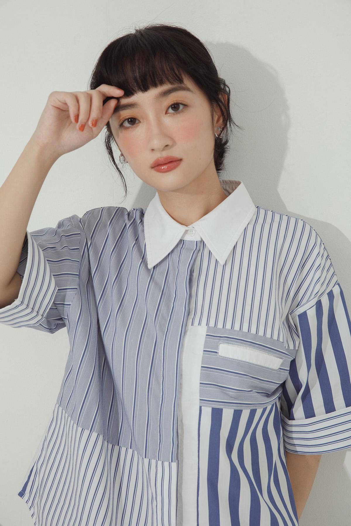 寬鬆條紋拼接襯衫