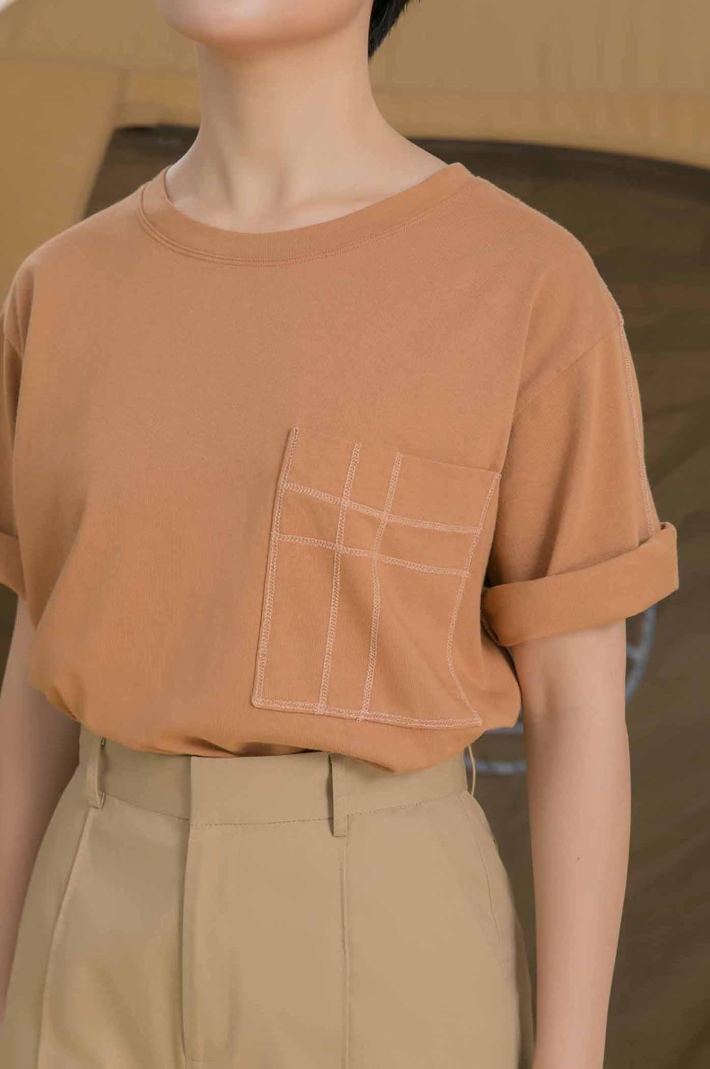 寬鬆厚棉外縫線T