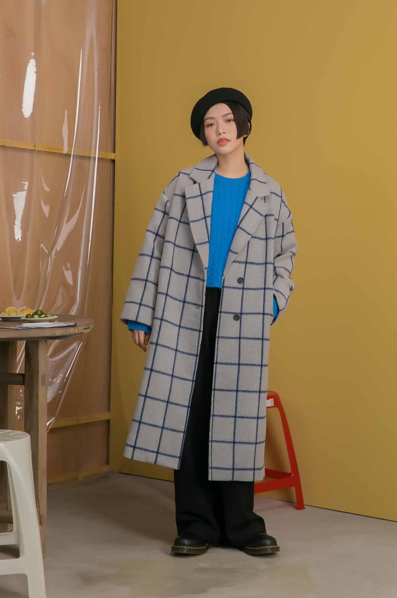 格紋繭型大衣
