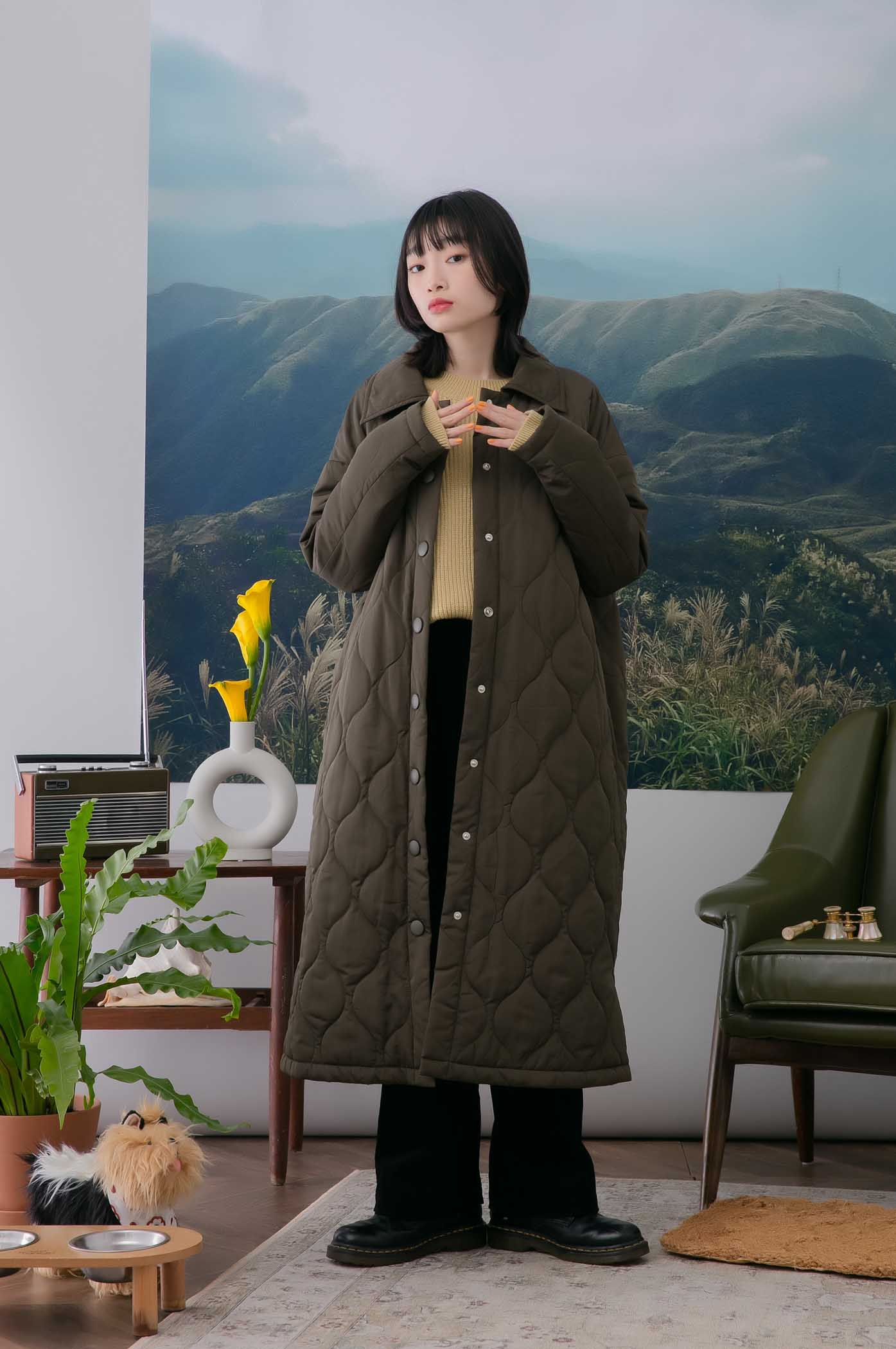 小花絎縫長版外套