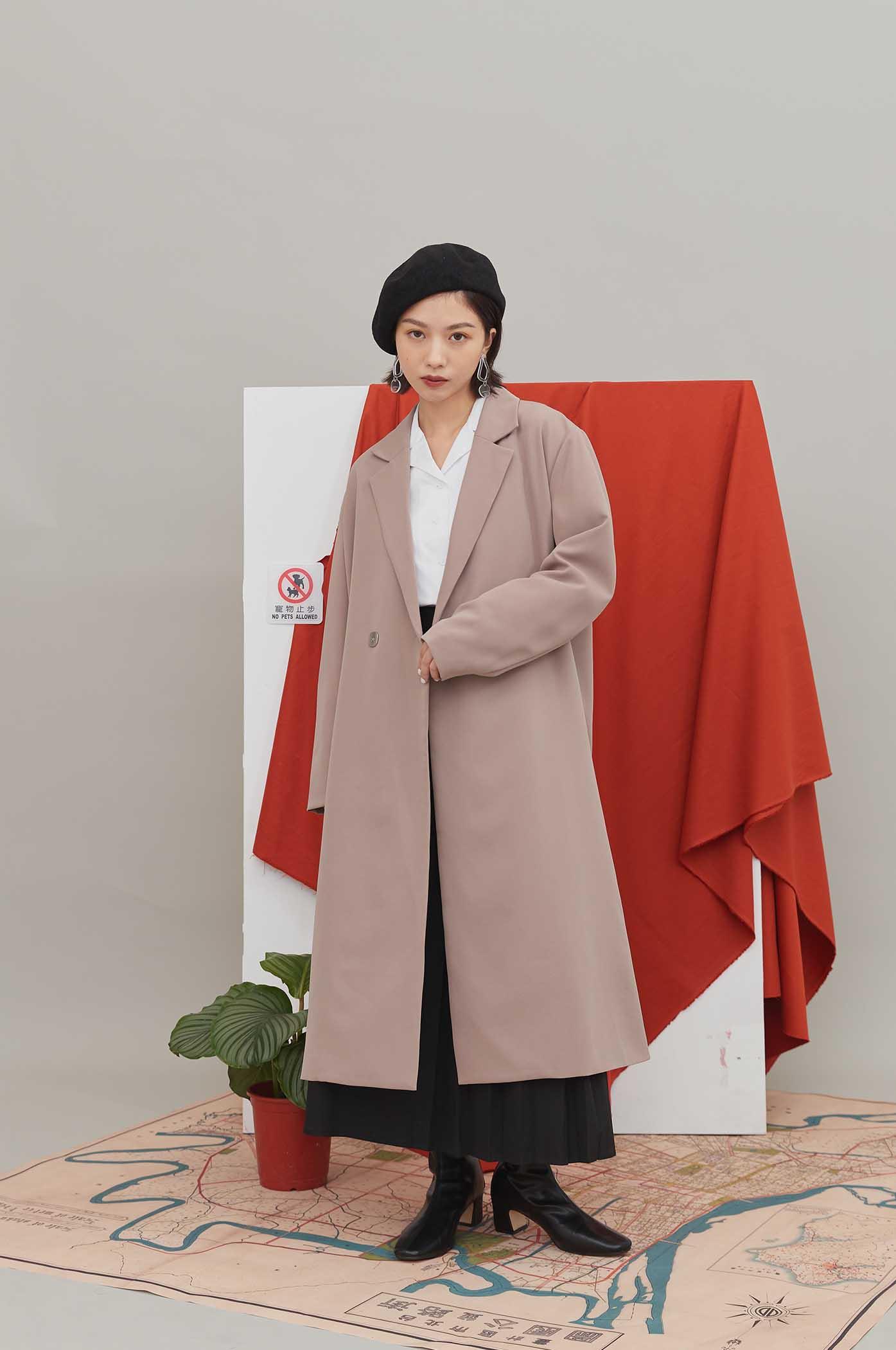 雙排釦長版西裝外套