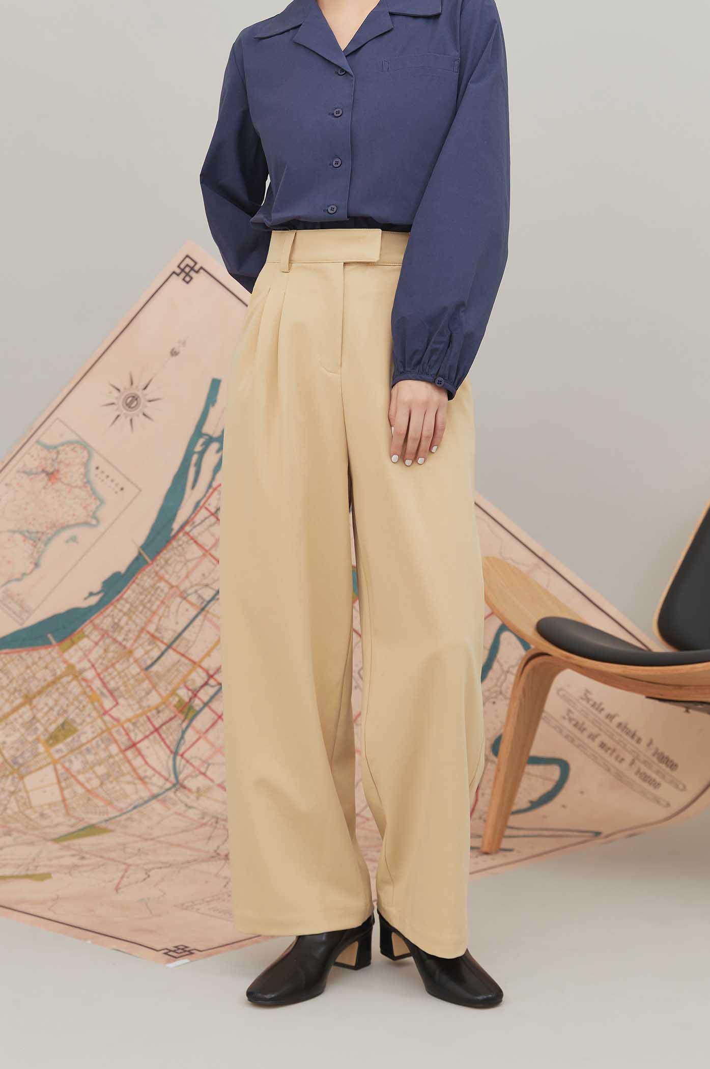 又瘦又長素色直筒褲
