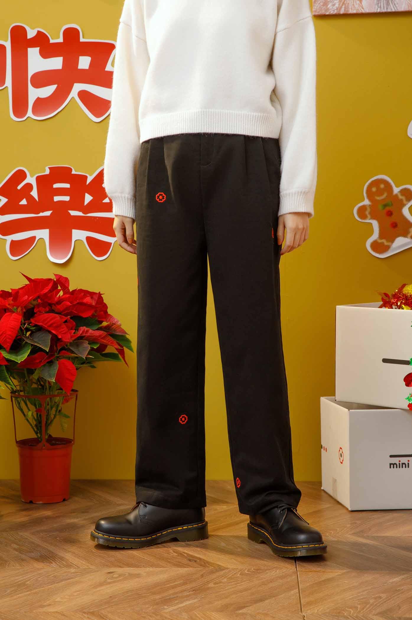 小花刺繡直筒褲