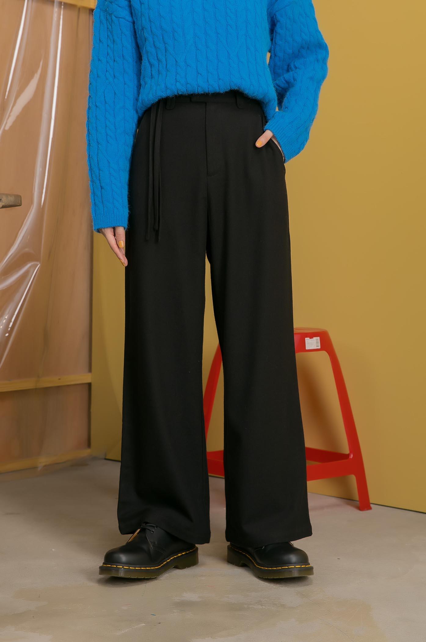素色毛呢長褲