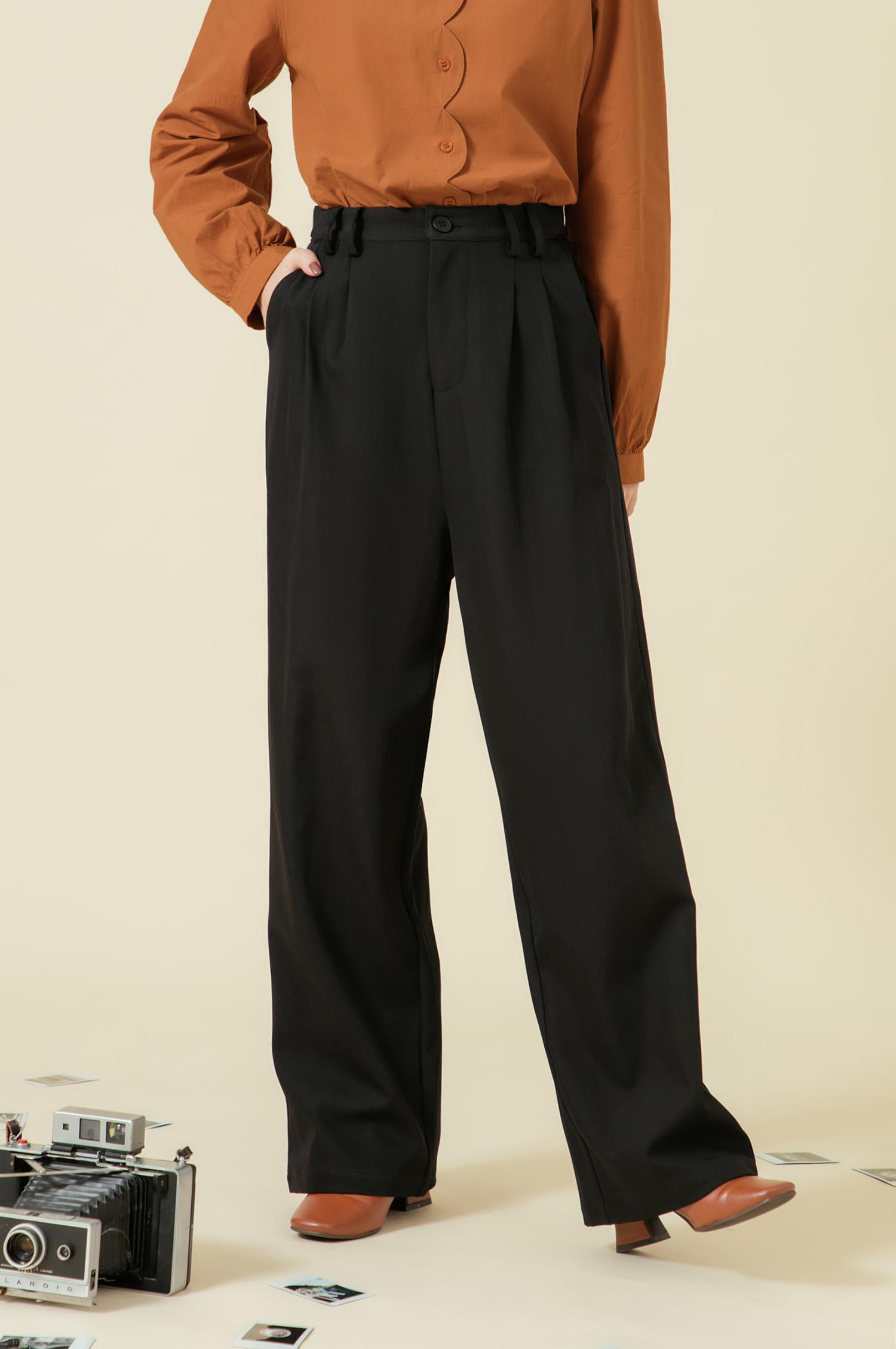 素面側釦長褲