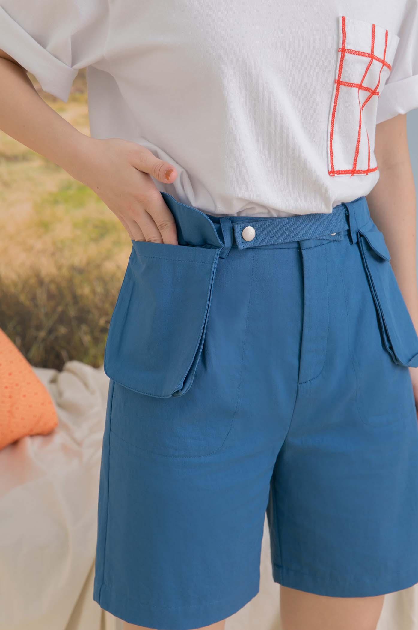 可拆式腰帶雙口袋短褲