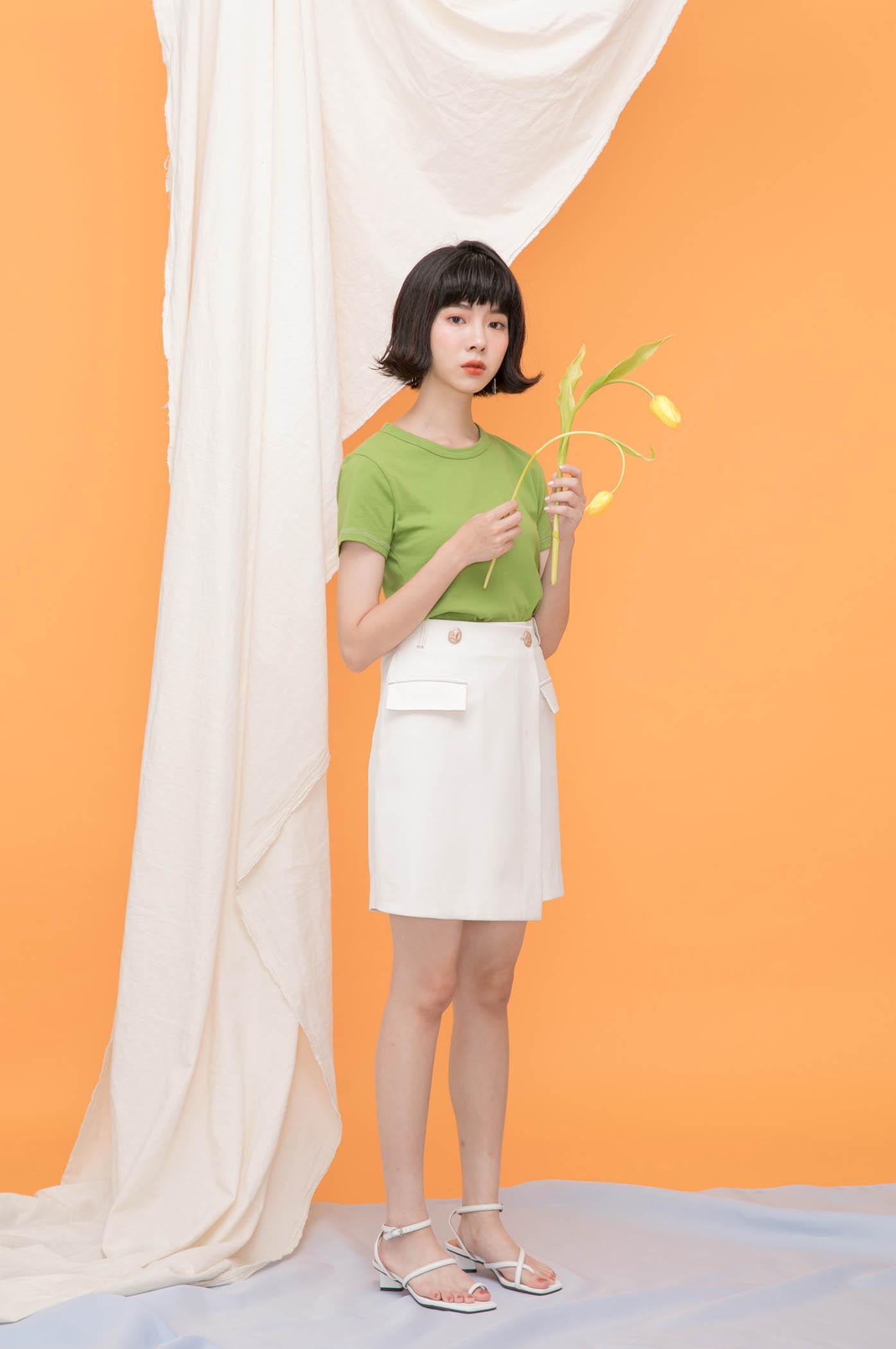 配色外縫線一字褲裙