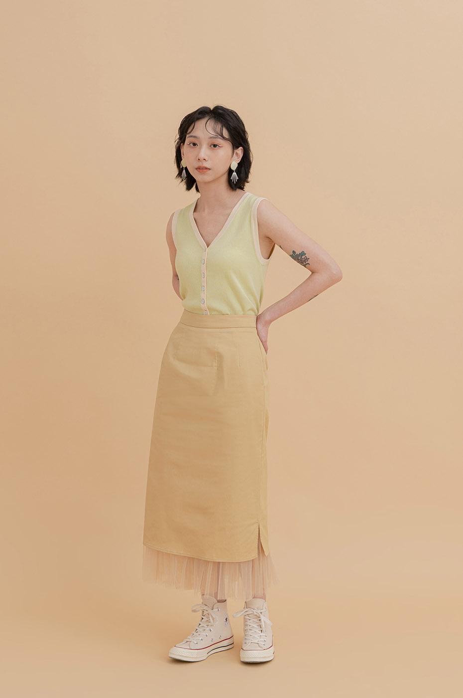 層次異材質拼接中長裙