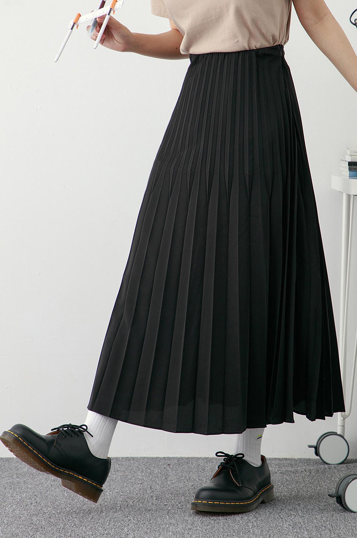 漣漪雙褶鬆緊長裙