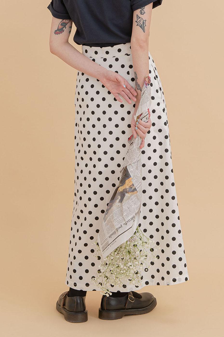 高腰復古圓點排釦裙