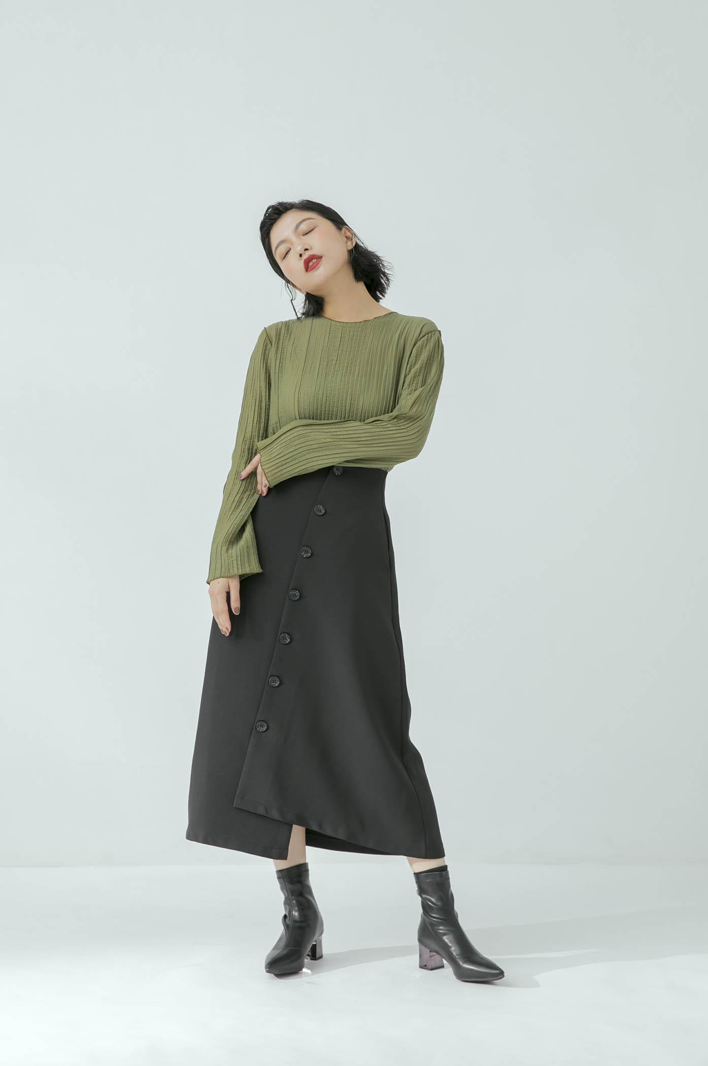 不對稱斜鈕釦裙