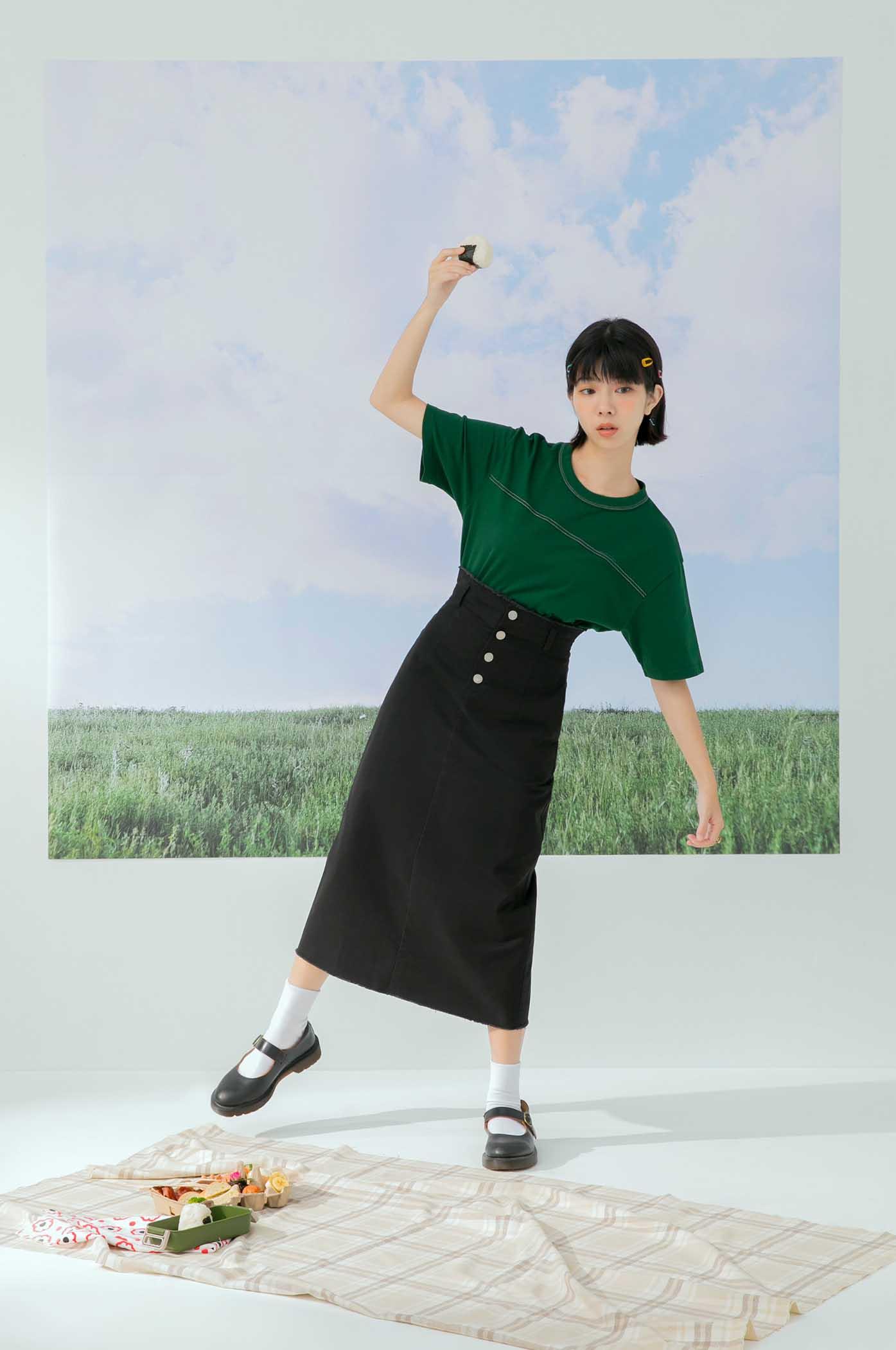 高腰鬚邊長裙