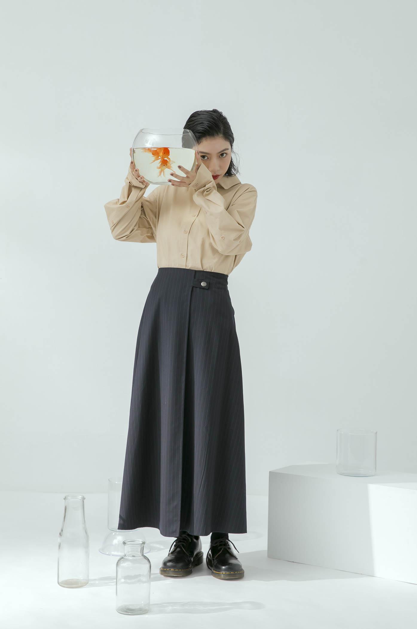 條紋拼接長裙