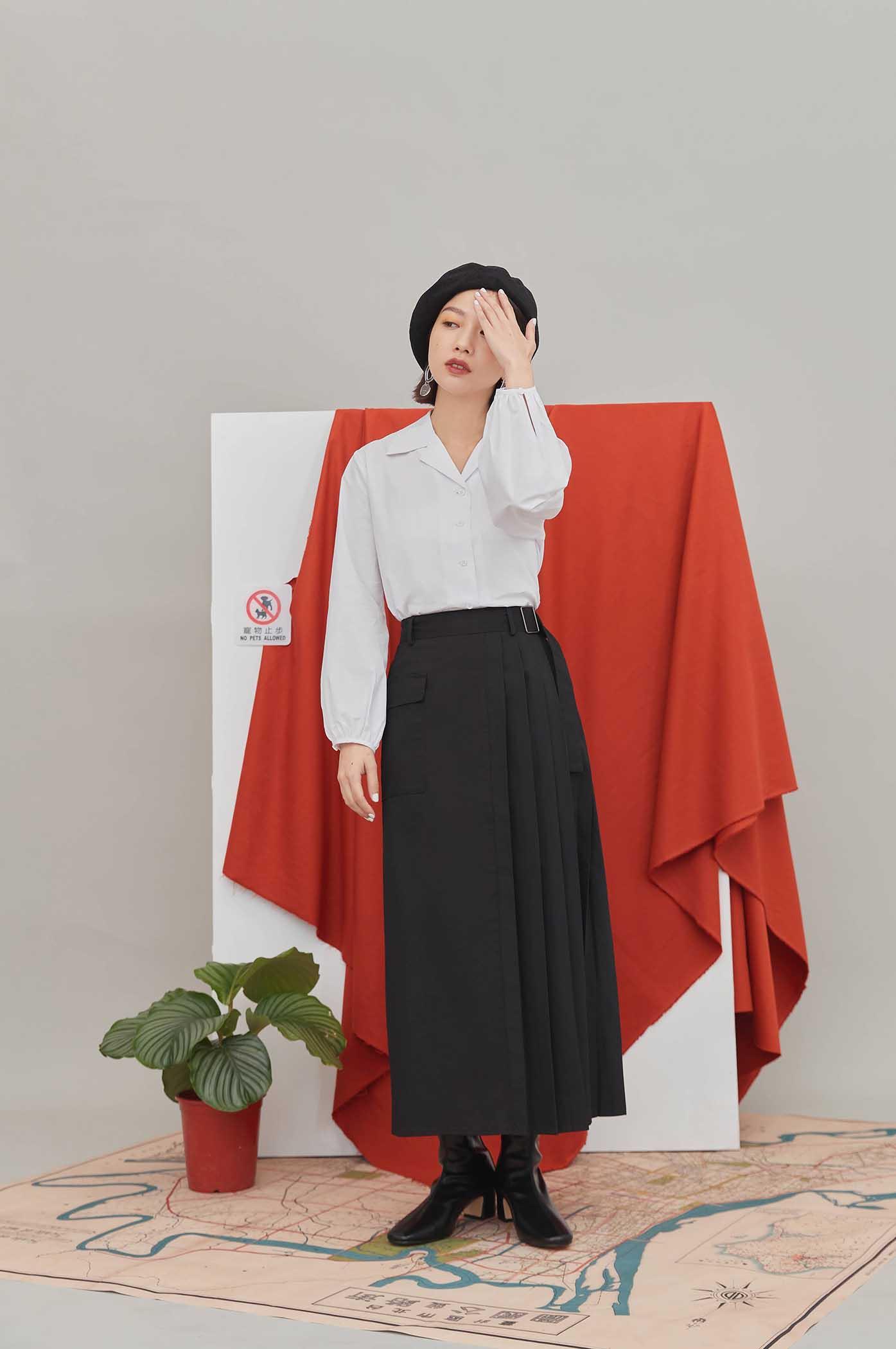 半百褶大口袋裙