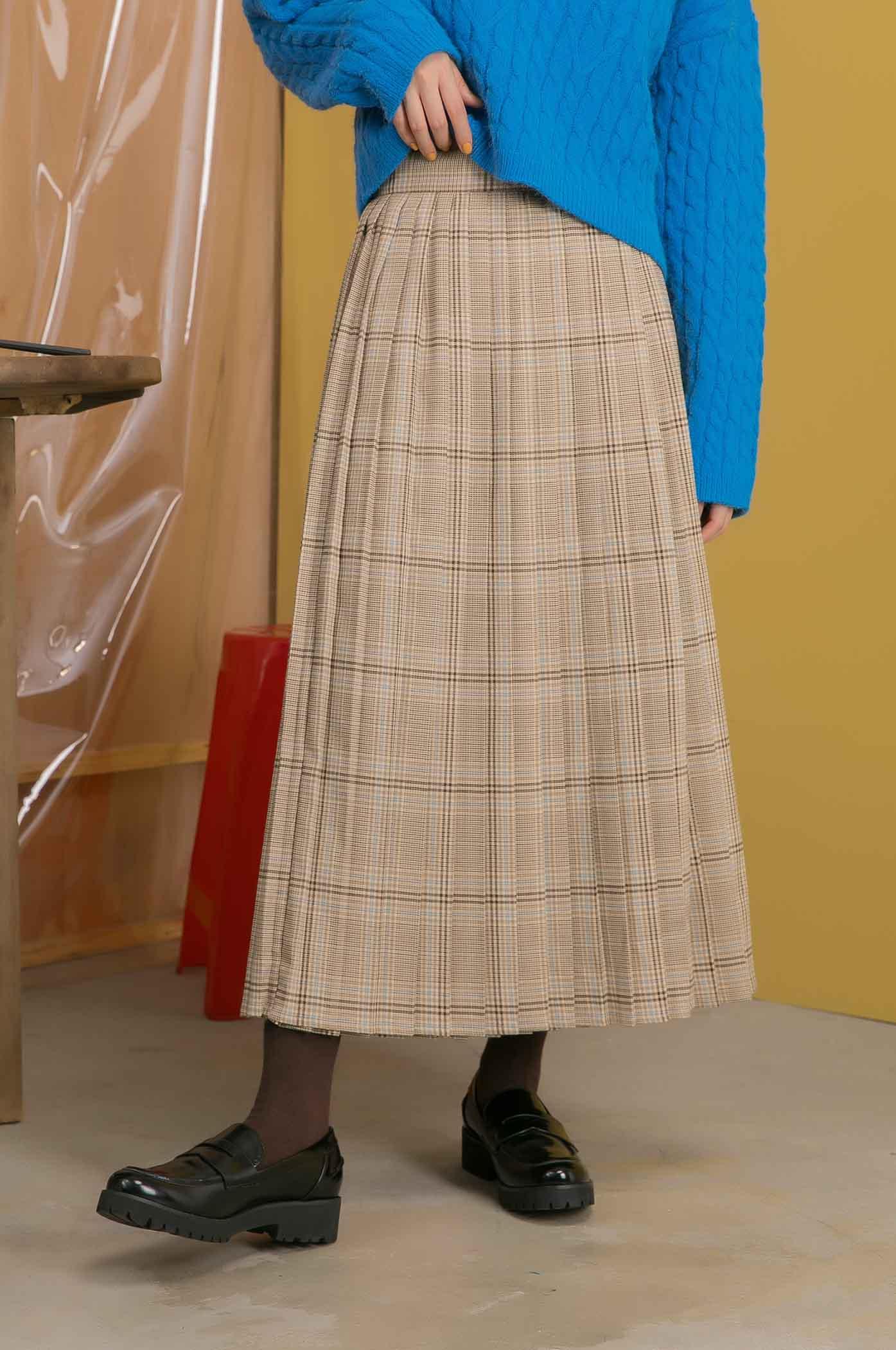 格紋層次拼接裙