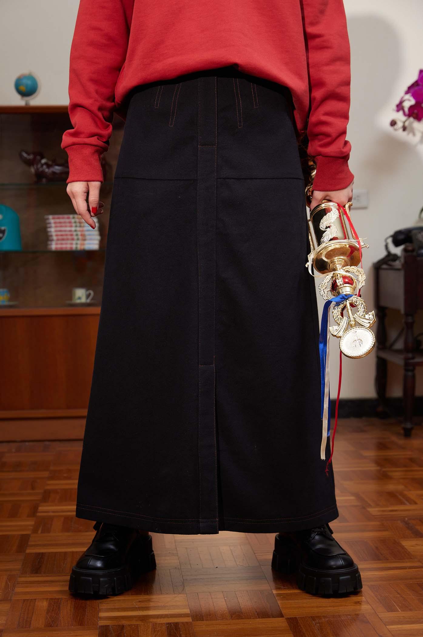 磨毛剪接顯瘦裙