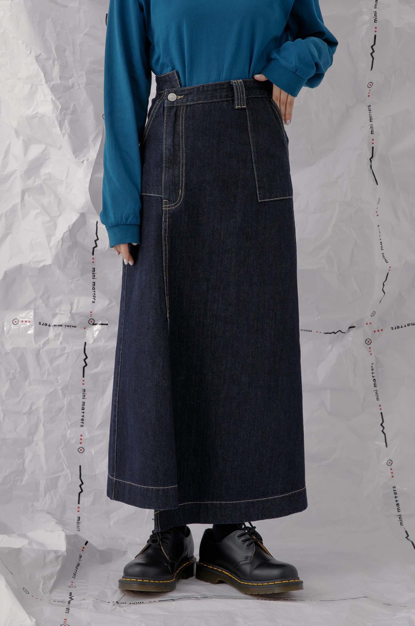斜釦合牛仔長裙