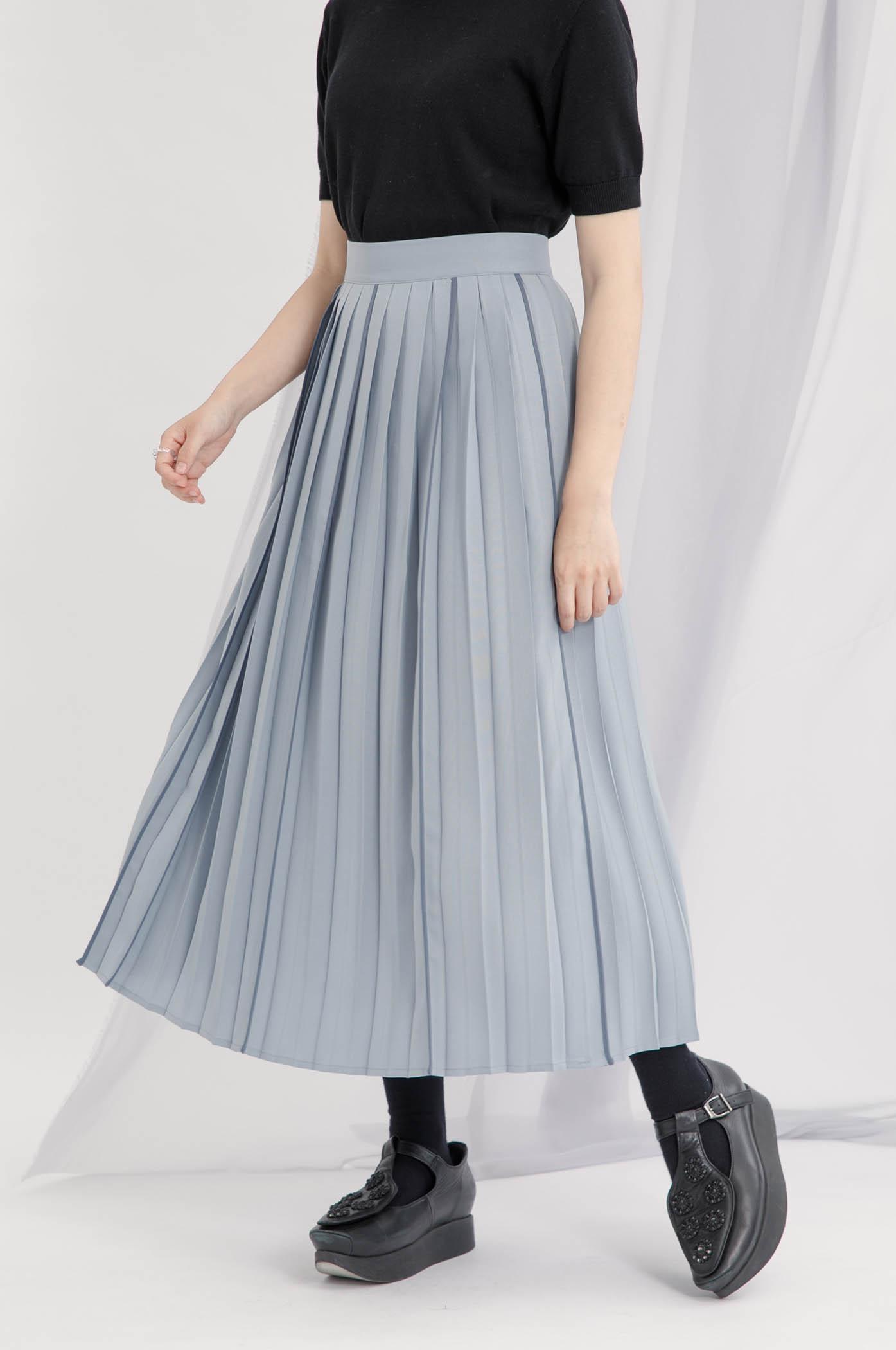 不對稱出芽裝飾百褶裙