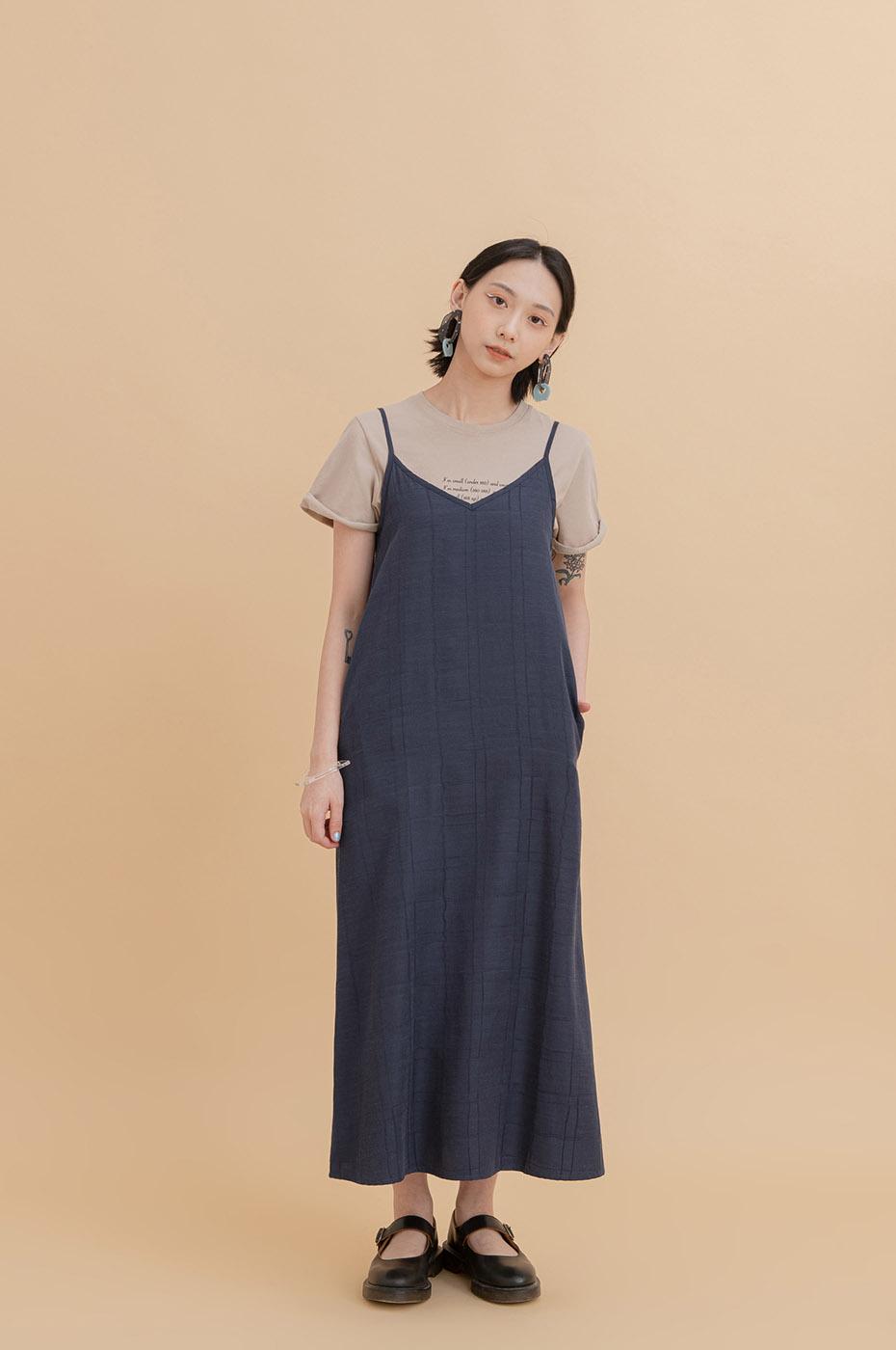 格紋長洋裝