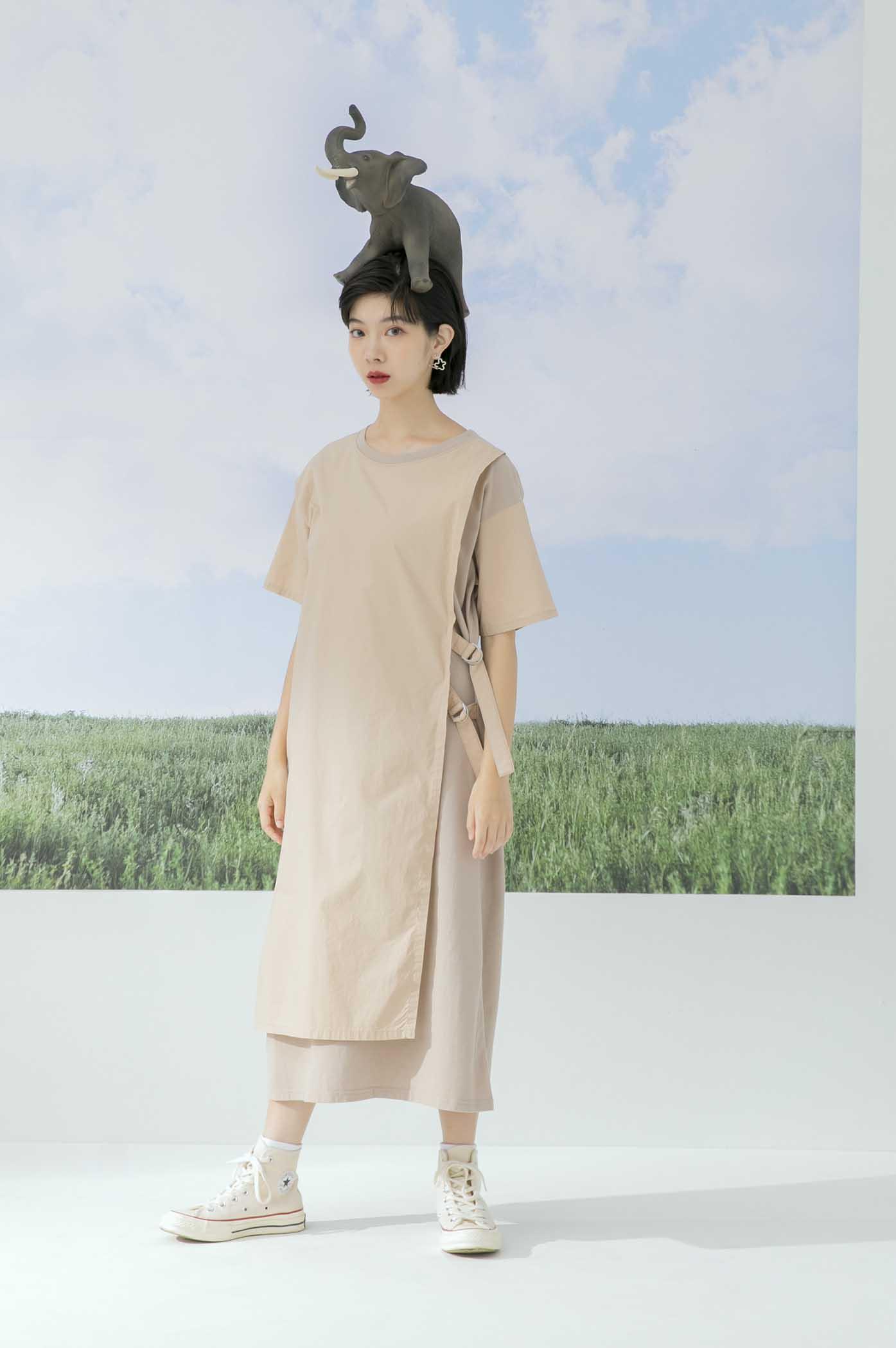 異材質拼接織帶洋裝