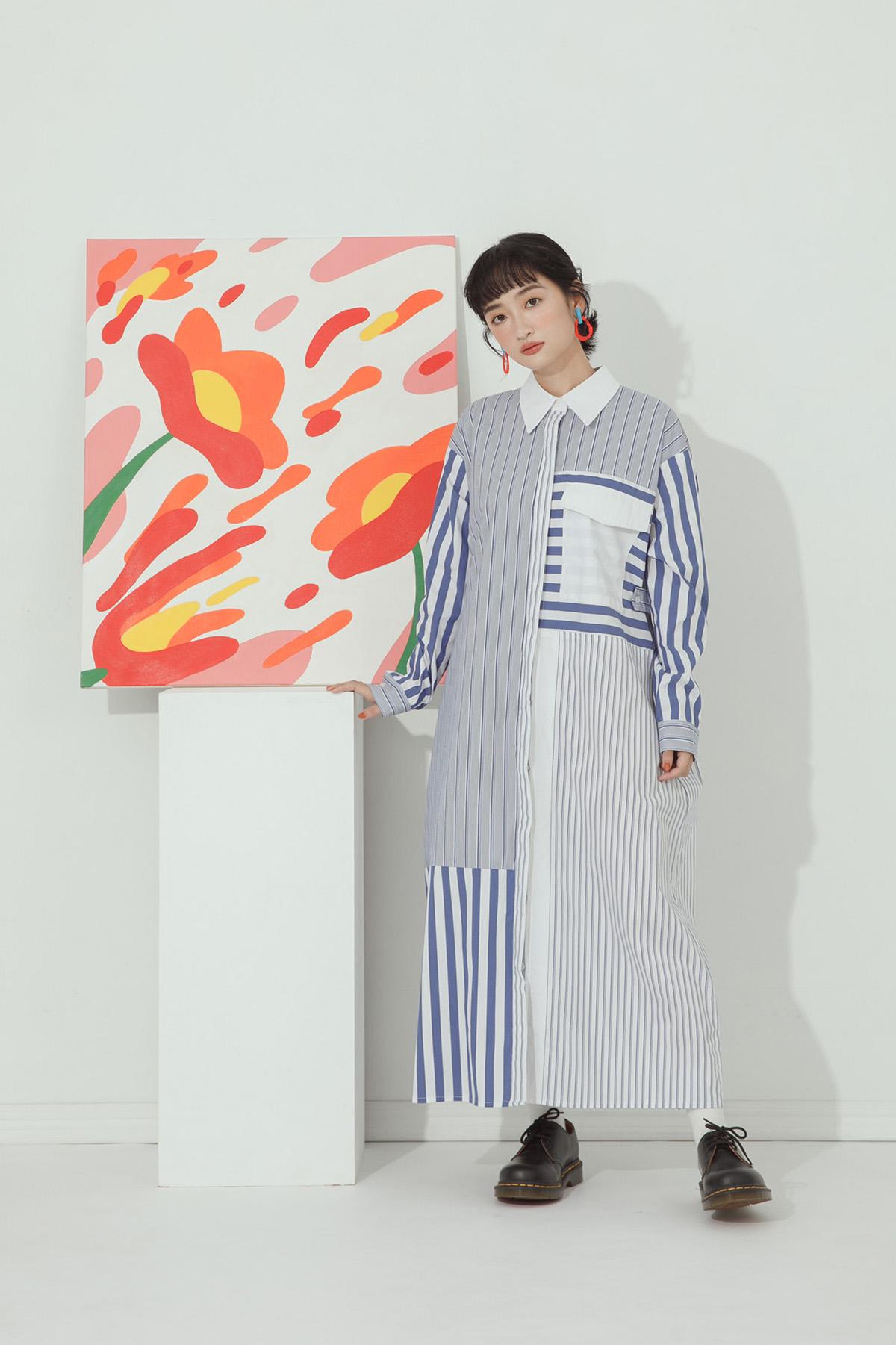 寬鬆條紋拼接襯衫洋裝