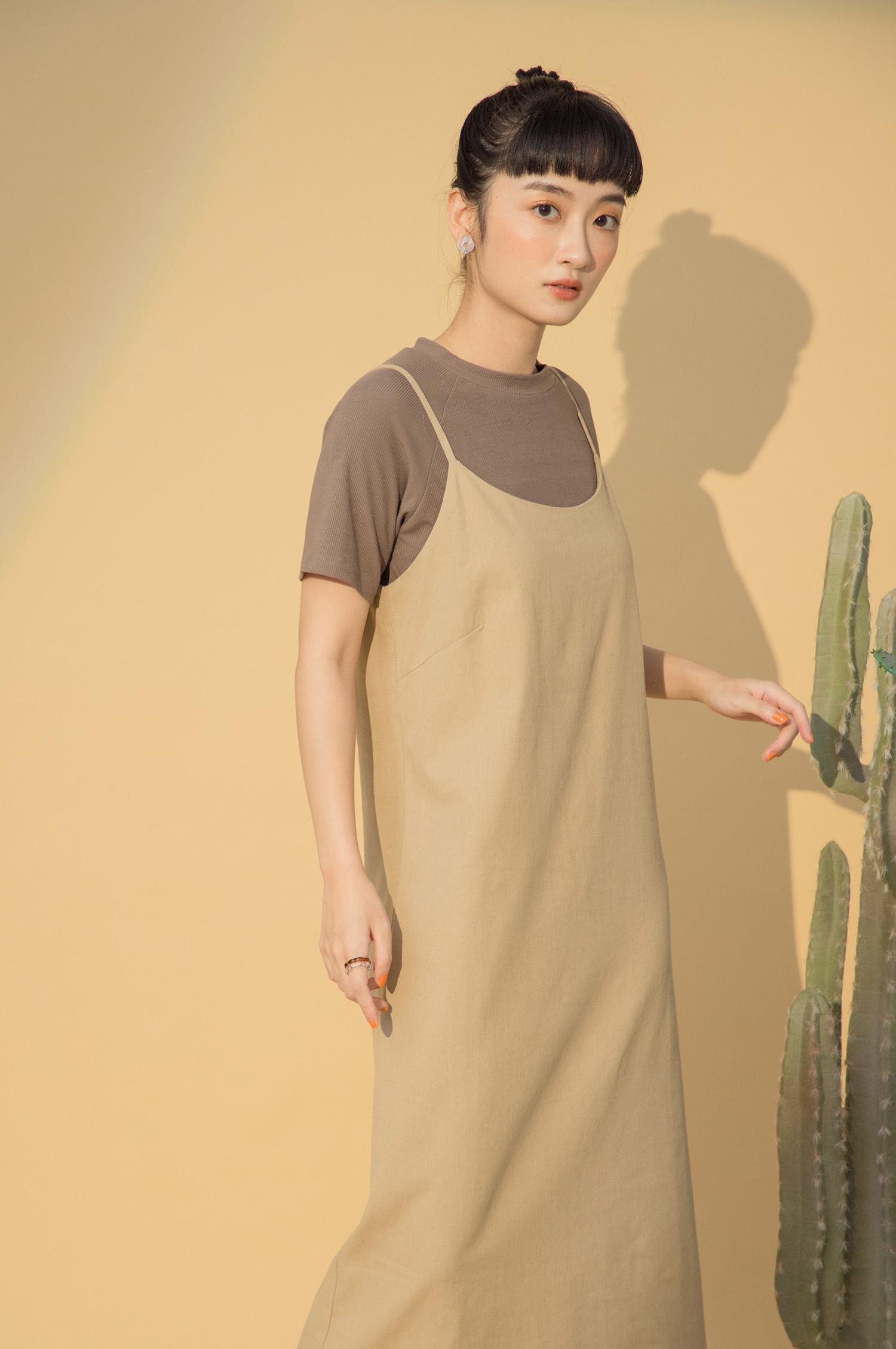 棉麻修身洋裝